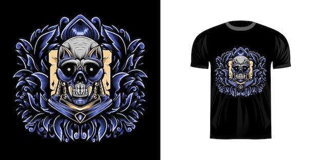 T-shirt ontwerp illustrtion schedel krijger met