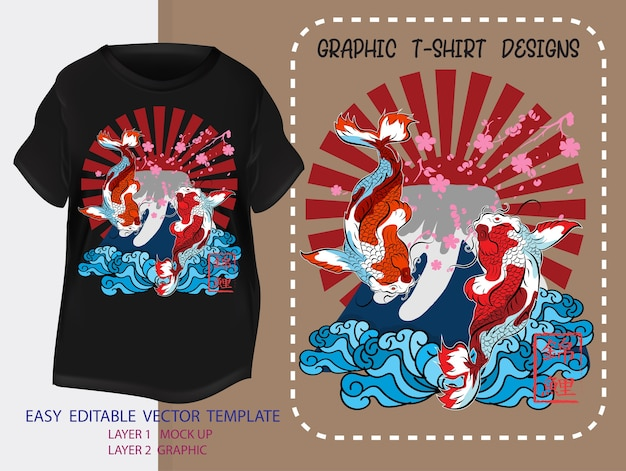T-shirt ontwerp japanse stijl. japanse koi vissen