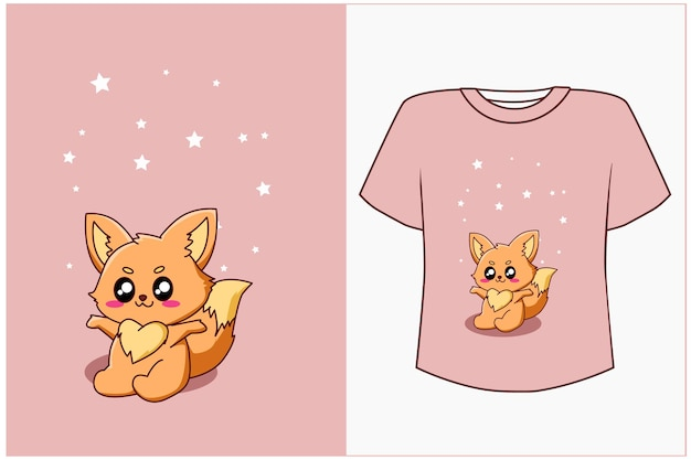 T-shirt ontwerp mockup gelukkige kleine vos cartoon afbeelding