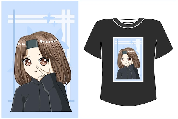 T-shirt ontwerp mockup mooi meisje met zwarte jas cartoon afbeelding