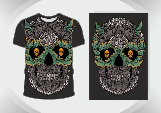 T-shirt ontwerp schedel, geïsoleerd,