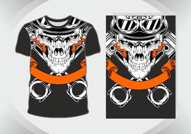 T-shirt ontwerp schedelhelm, geïsoleerd, volledig bewerkbaar