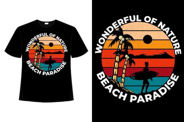 T-shirt ontwerp van prachtige natuur strand paradijs surf berg hand getekende vintage retro afbeelding
