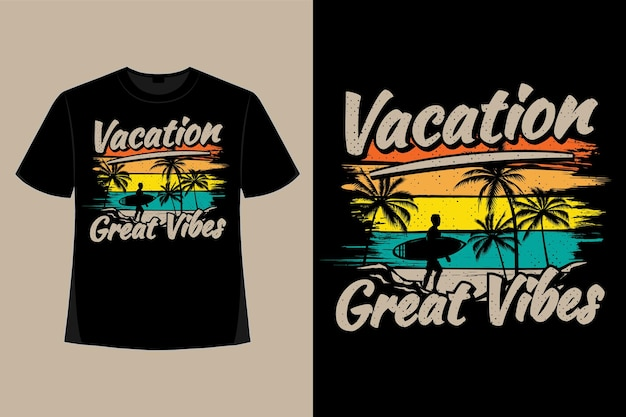 T-shirt ontwerp van vakantie geweldige vibes surf borstel stijl retro vintage illustratie