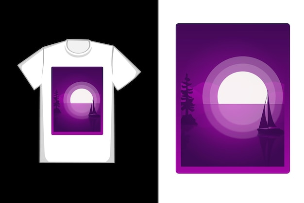 T-shirt ontwerp volle maan hand tekenen