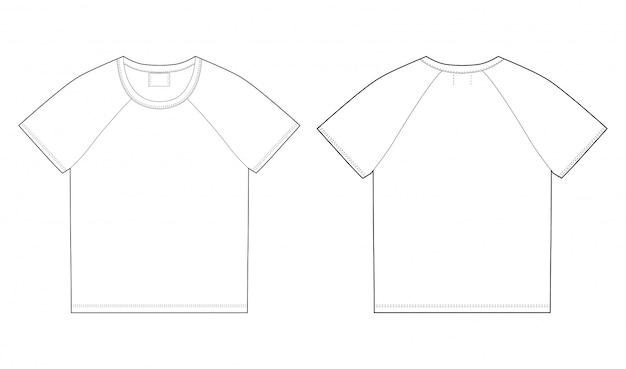 T-shirt ontwerpsjabloon. voor-en achterkant