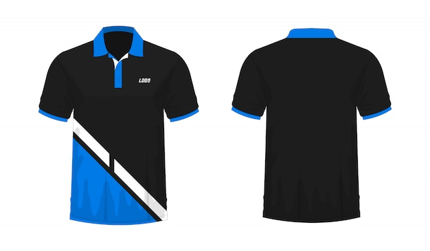 T-shirt polo blauw en zwart t illustratie
