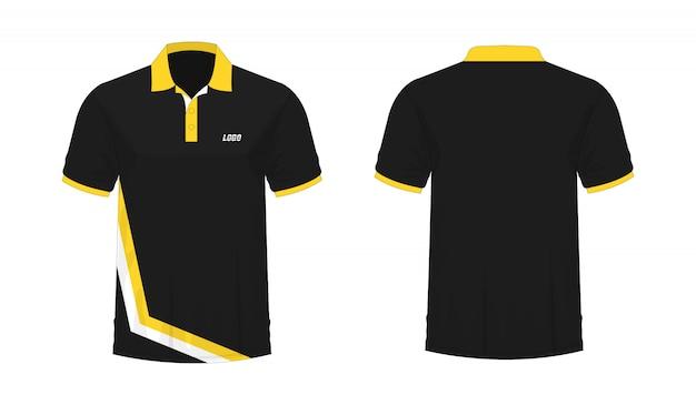 T-shirt polo geel en zwart sjabloon voor ontwerp.
