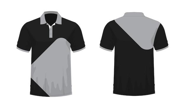 T-shirt polo grijs en zwart sjabloon voor ontwerp op witte achtergrond. vector illustratie eps 10.