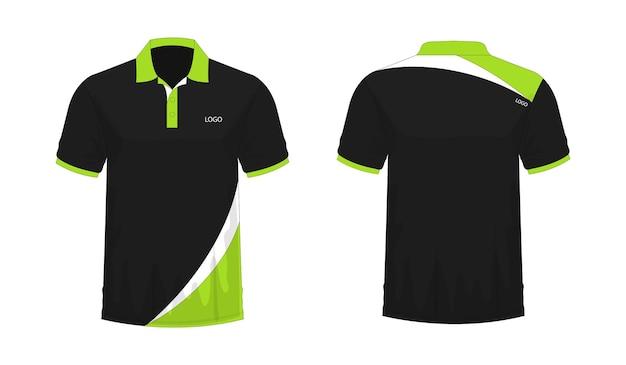 T-shirt polo groen en zwart sjabloon voor ontwerp op witte achtergrond. vector illustratie eps 10.