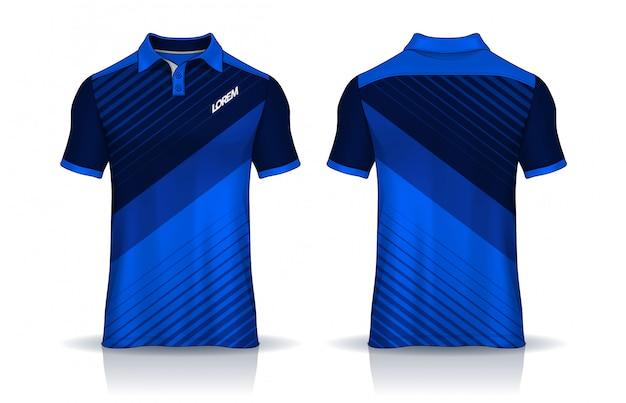 T-shirt polosjablonen uniform voor- en achteraanzicht.