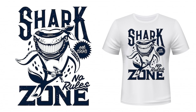 T-shirt print met haai dieren mascotte