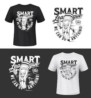 T-shirt print met lachend potlood