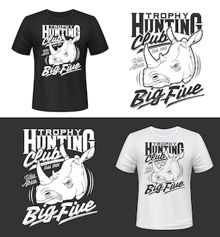 T-shirt print met neushoorn hoofd, mascotte, twee gehoornde neushoorn dier voor kleding. boos afrikaans savannezoogdier, neushoorn t-shirt print. safaritour, jachttrofee, sportclub