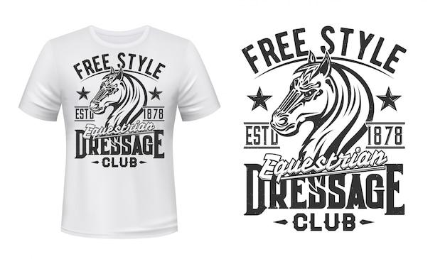 T-shirt print met paardenhengst paardensport