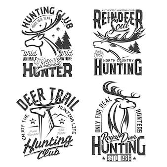 T-shirt print met schets hert, rendier mascotte