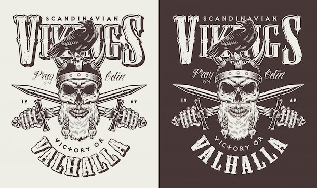 T-shirt print met viking hoofd