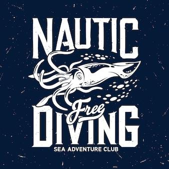 T-shirt print met zee calamary of inktvis mascotte