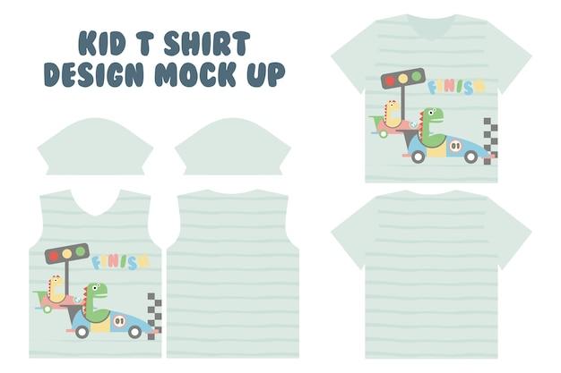 T-shirt print ontwerp, voor-en achterkant t-shirt mock-up ontwerp, schattige kleine dino doen race