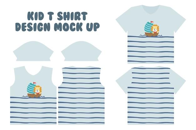 T-shirt print ontwerp, voorkant en achterkant t-shirt mock-up ontwerp, schattige kleine leeuw zeilen