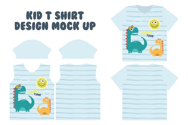 T-shirt print ontwerp, voorkant en achterkant t-shirt mock-up ontwerp, schattige zomertijd spelen van dino