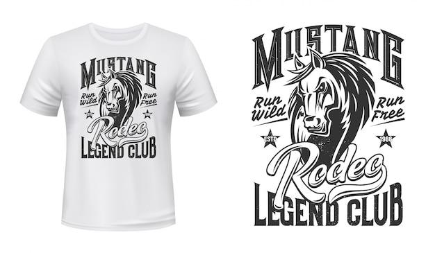 T-shirt print paard hengst mascotte,