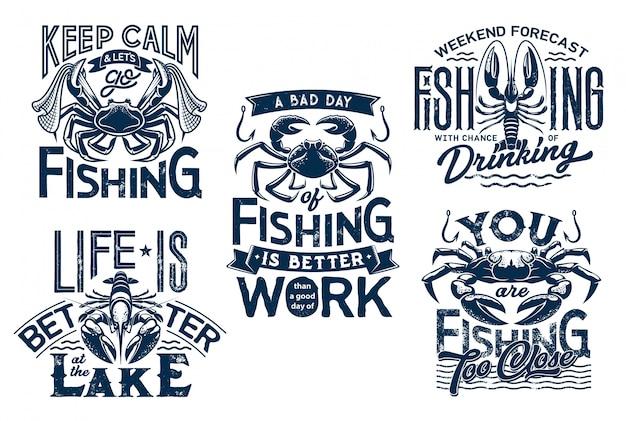 T-shirt prints van kreeft en krab met visnet