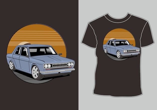 T-shirt, retro vintage auto illustratie