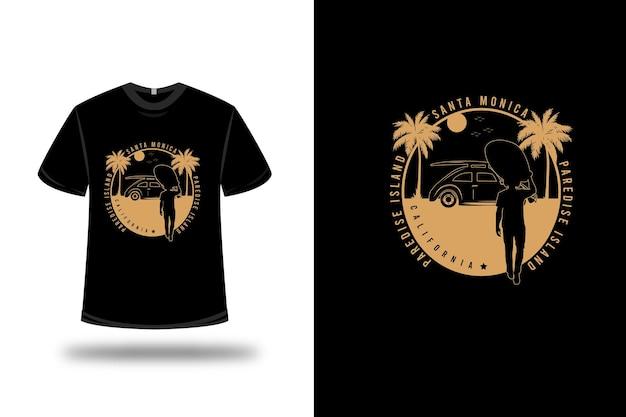 T-shirt santa monica paradise island california kleur crème