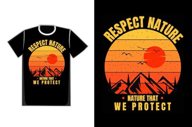 T-shirt silhouet berg natuur zonsondergang mooie retro