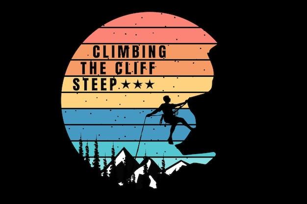 T-shirt silhouet bergbeklimmen klif grenen retro vintage stijl