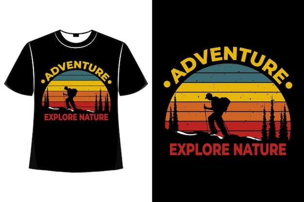 T-shirt silhouet klim verkennen natuur avontuur grenen retro