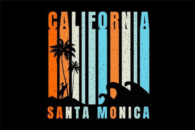 T-shirt silhouet strand californië in santa monica