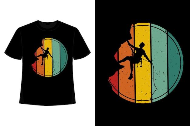 T-shirt silhouet wandelen retro vintage