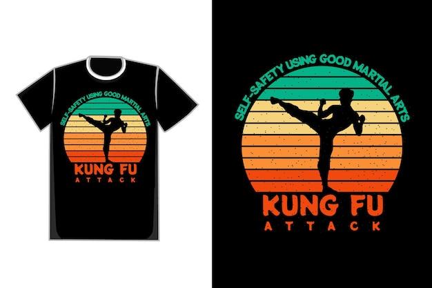 T-shirt silhouet zelfaanval retro stijl