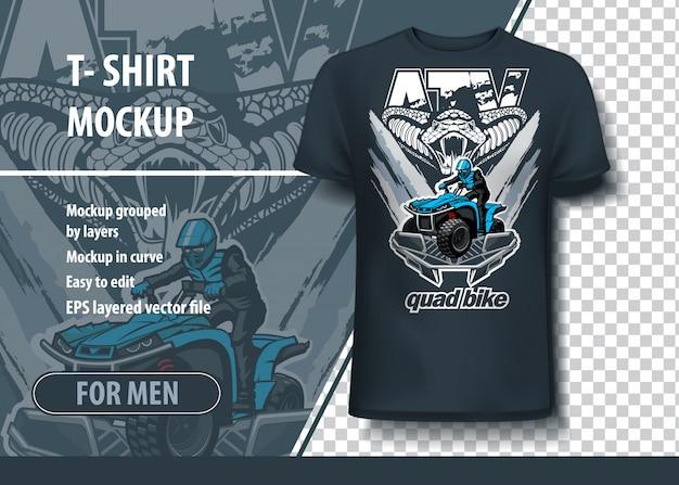 T-shirt sjabloon met snake en quadbike.
