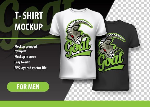 T-shirt sjabloon, volledig bewerkbaar met evil goat head-logo.