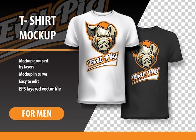 T-shirt sjabloon, volledig bewerkbaar met evil pig team logo.