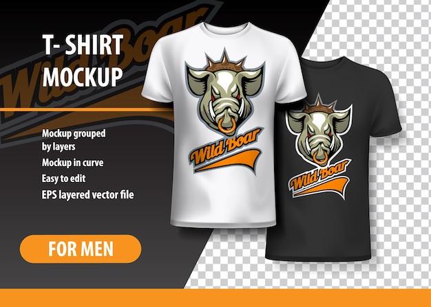 T-shirt sjabloon, volledig bewerkbaar met wild boar team logo.