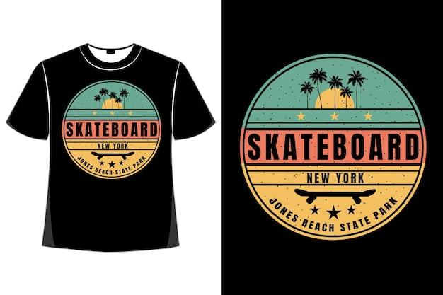 T-shirt skateboard new york strand zonsondergang retro stijl