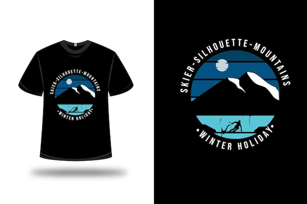T-shirt skiër silhouet bergen wintervakantie op blauw en zwart