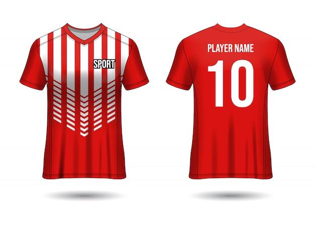 T-shirt sport ontwerp. voetbalshirtmodel voor voetbalclub. uniform voor- en achteraanzicht. sjabloon ontwerp. sjabloon jersey realistisch