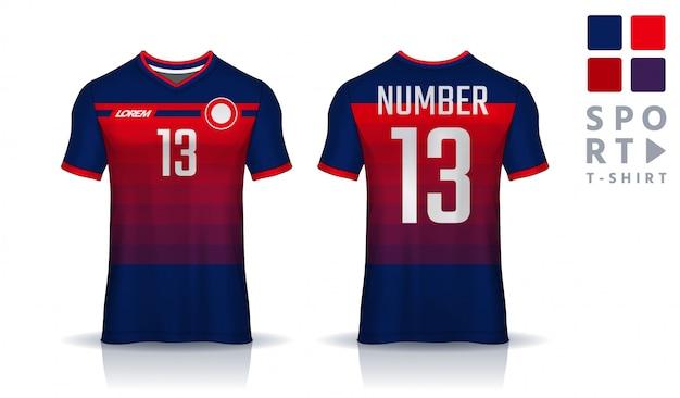 T-shirt sport ontwerpsjabloon, voetbal jersey voor voetbalclub. uniform voor- en achteraanzicht.