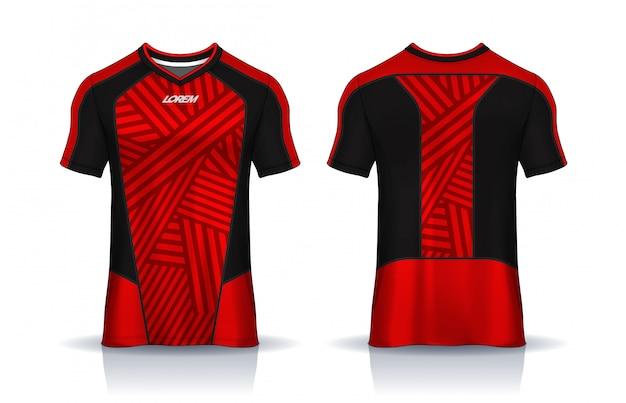 T-shirt sport ontwerpsjabloon, voetbalshirt mockup voor voetbalclub. uniform voor- en achteraanzicht.