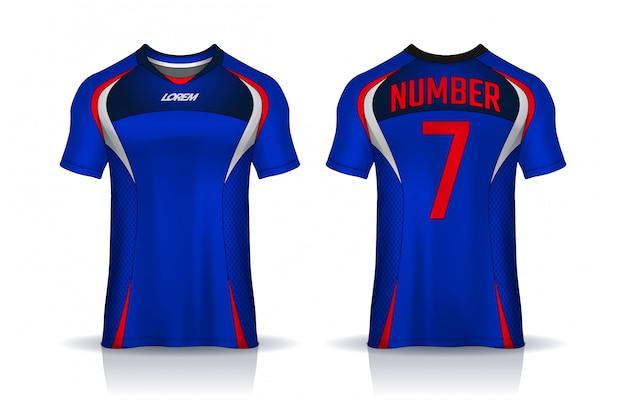 T-shirt sport ontwerpsjabloon, voetbaltrui voor voetbalclub. uniforme voor- en achterkant.