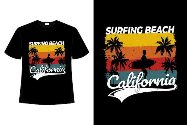 T-shirt strand surfen californië retro