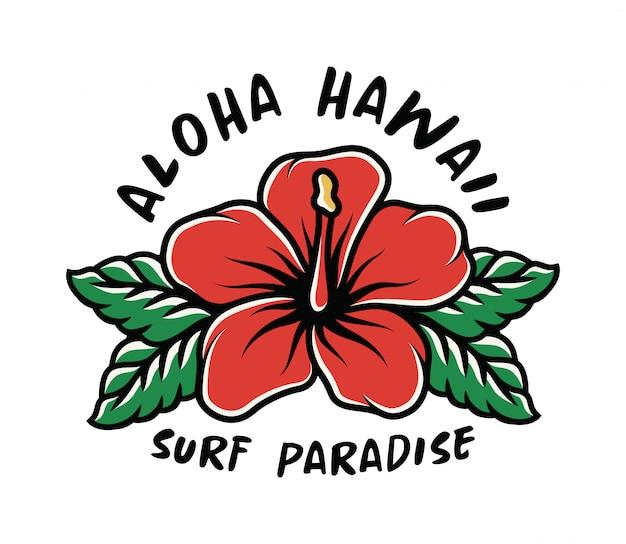 T-shirt surf print met hibiscus bloem