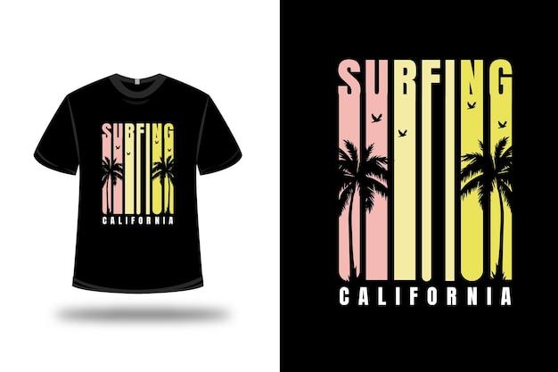 T-shirt surfen californië kleur roze en geel