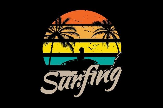 T-shirt surfen strand palmboom retro vintage illustratie