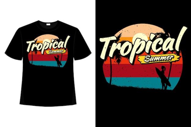 T-shirt tropische zomer surfen strand stijl retro vintage illustratie